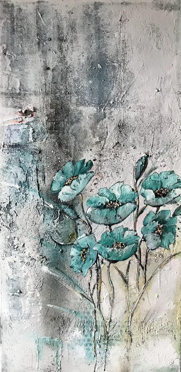 Blumen 7, 80x40cm, Mischtechnik 2021