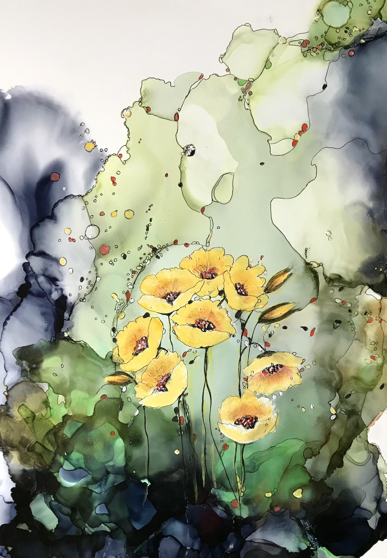 Blumen, A3, Holzplatte, 2021