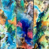 Farbenpower in Harmonie, 5x 40x120cm, Mischtechnik 2018