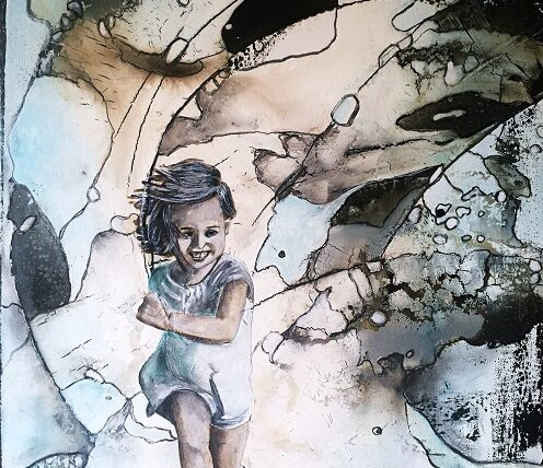 Kind sein - frei sein, 80x50cm, Mischtechnik, 2020