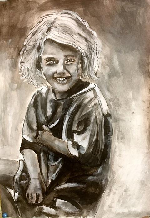 Lächeln für Alle 2, 42x30cm, Acryl, Papier, 2018