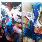 Meine dynamische Farbenwelt, 2x 200x100cm, Mischtechnik, 2018